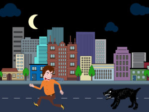 Man Running Away From The Dog