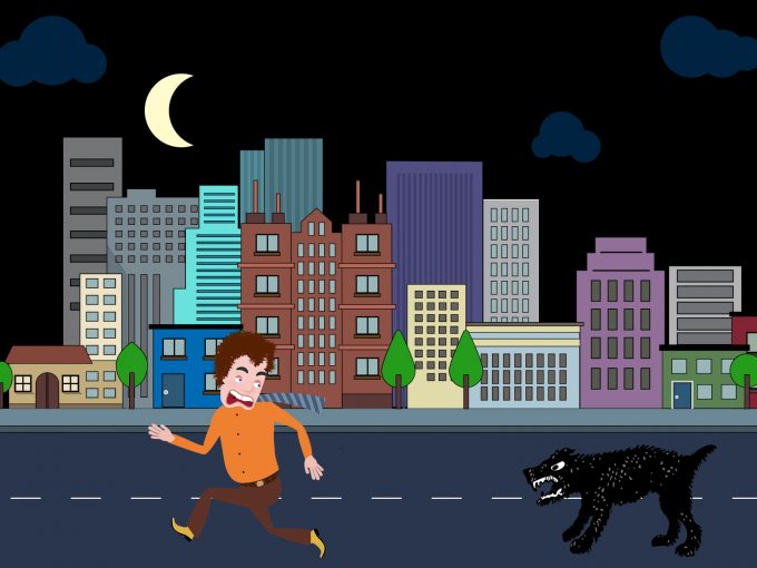 Man Running Away From The Dog PPT Backgrounds