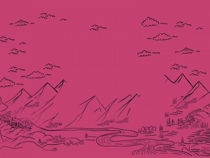 Pink Landscape Pattern PPT Backgrounds