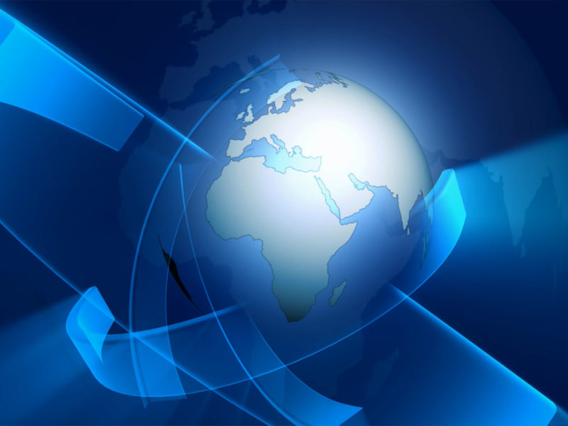 Earth With Blue Banner Backgrounds