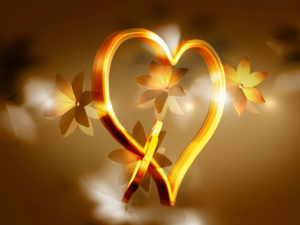 Gold Heart and Flower PPT Backgrounds