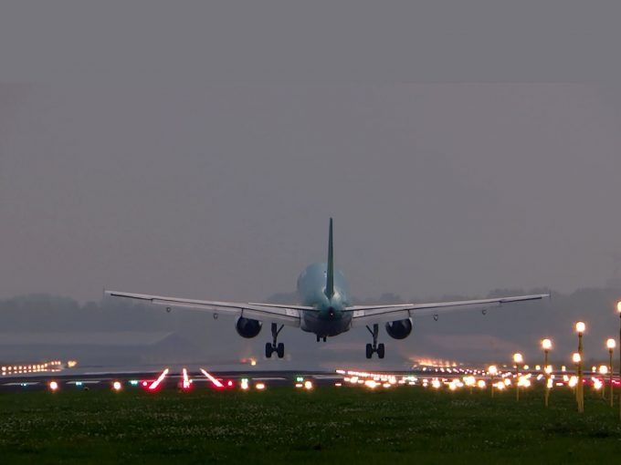 Plane Landing At Airport PPT Backgrounds