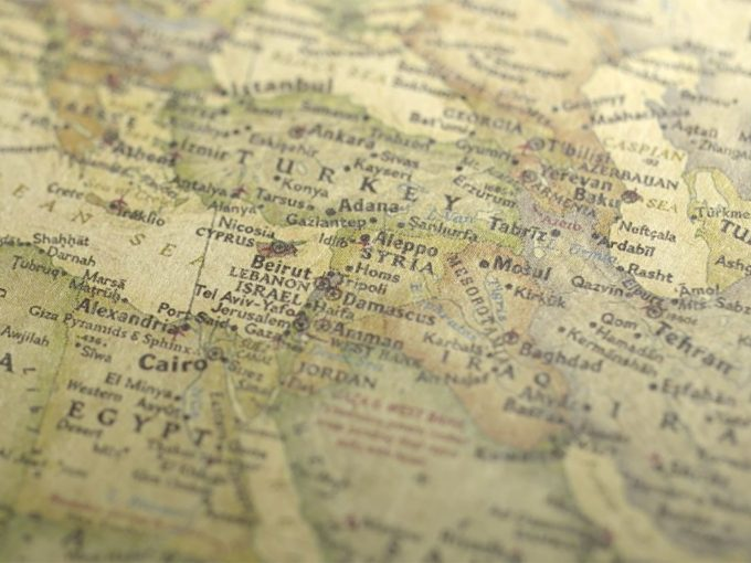 Vintage Map Across To Turkey PPT Backgrounds