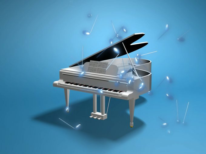Spilling Music Blue Piano PPT Backgrounds