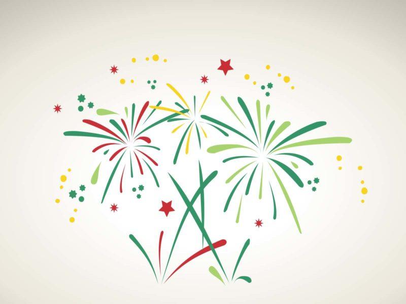 Green Fireworks PPT Backgrounds