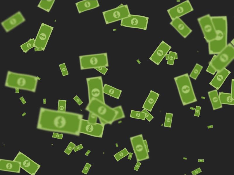 Flying cartoon money